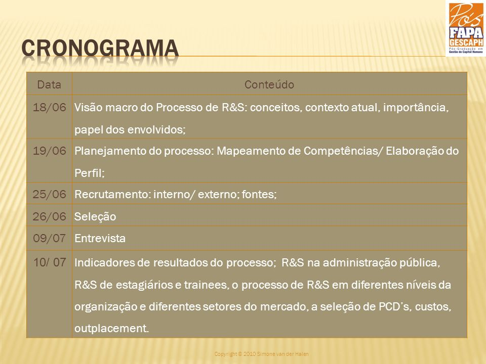 DataConteúdo 18/06 Visão macro do Processo de R&S: conceitos, contexto atual, importância, papel dos envolvidos; 19/06 Planejamento do processo: Mapea