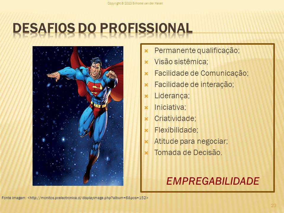 Permanente qualificação; Visão sistêmica; Facilidade de Comunicação; Facilidade de interação; Liderança; Iniciativa; Criatividade; Flexibilidade; Atit