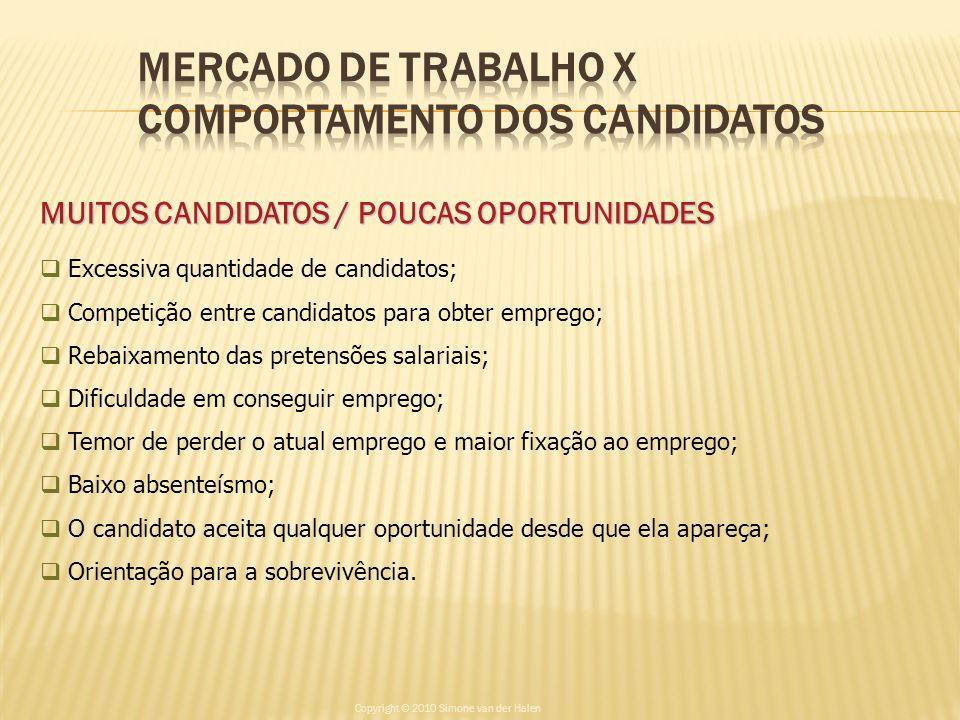 MUITOS CANDIDATOS / POUCAS OPORTUNIDADES Excessiva quantidade de candidatos; Competição entre candidatos para obter emprego; Rebaixamento das pretensõ