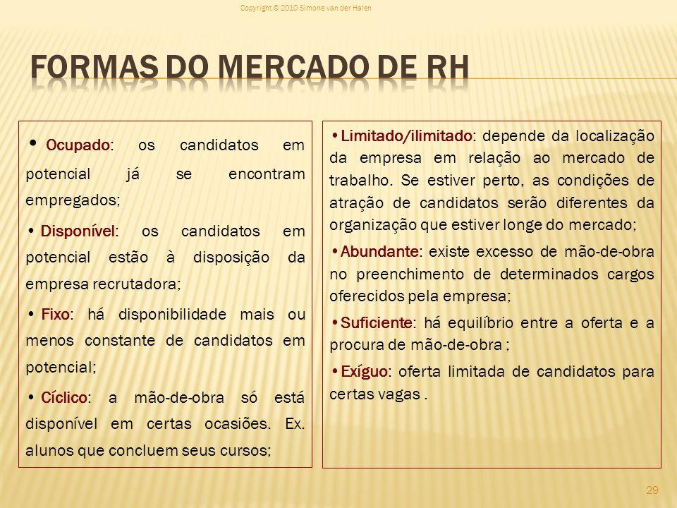 29 Ocupado: os candidatos em potencial já se encontram empregados; Disponível: os candidatos em potencial estão à disposição da empresa recrutadora; F