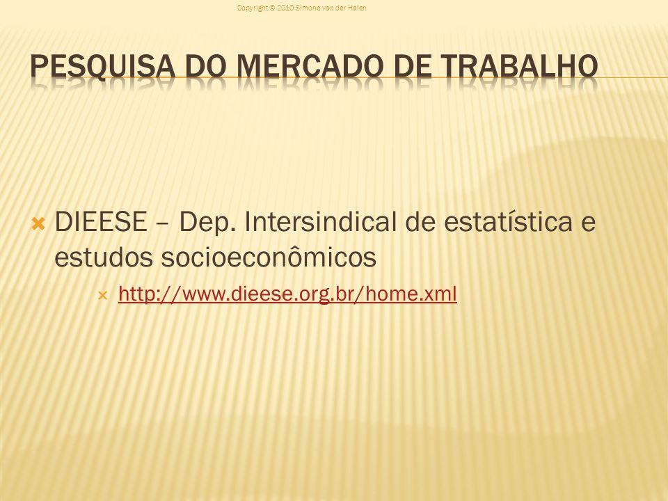 DIEESE – Dep. Intersindical de estatística e estudos socioeconômicos http://www.dieese.org.br/home.xml Copyright © 2010 Simone van der Halen