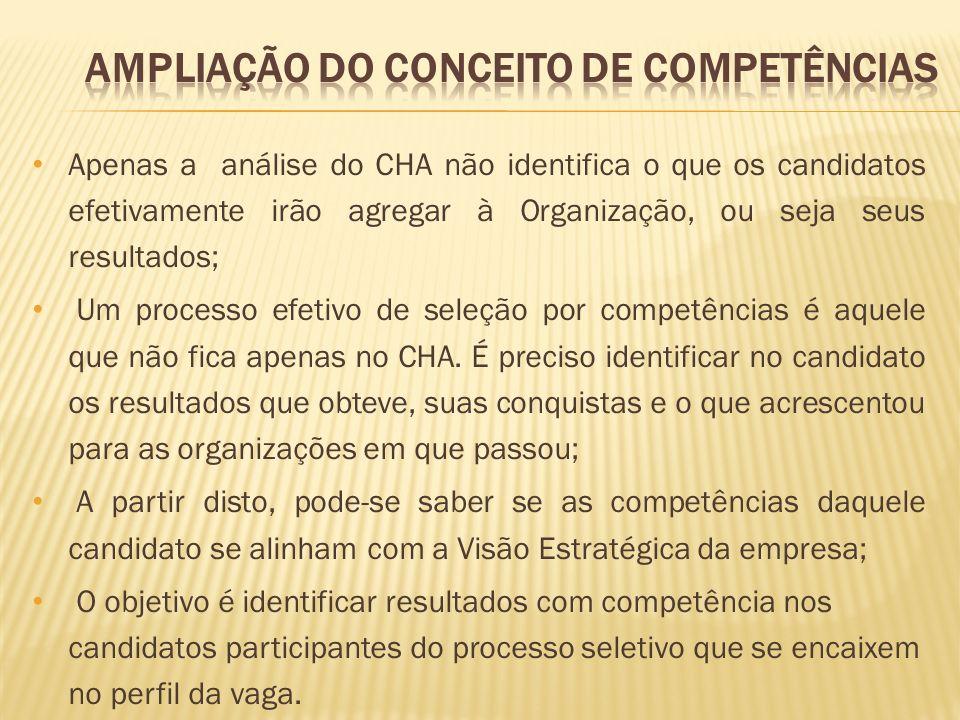 Apenas a análise do CHA não identifica o que os candidatos efetivamente irão agregar à Organização, ou seja seus resultados; Um processo efetivo de se