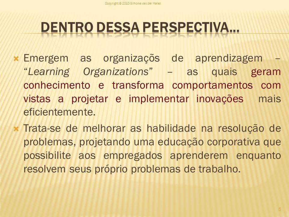 Emergem as organizaçõs de aprendizagem –Learning Organizations – as quais geram conhecimento e transforma comportamentos com vistas a projetar e imple