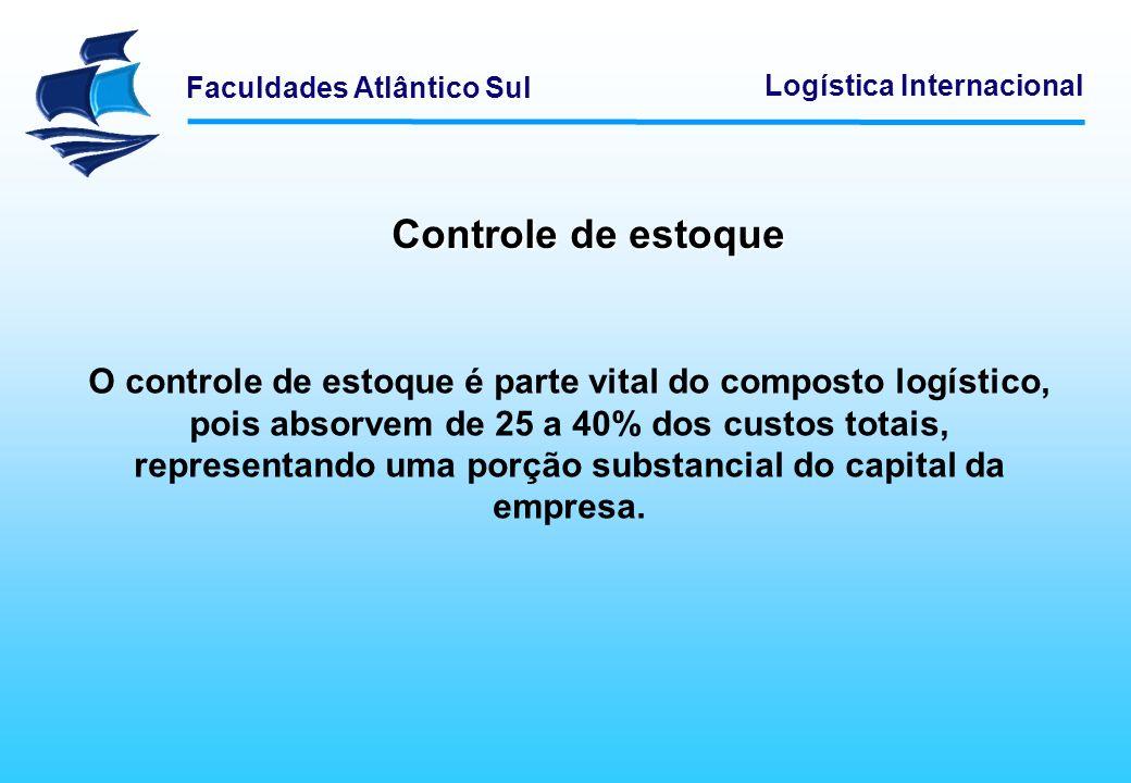 Faculdades Atlântico Sul Logística Internacional Controle de estoque O controle de estoque é parte vital do composto logístico, pois absorvem de 25 a