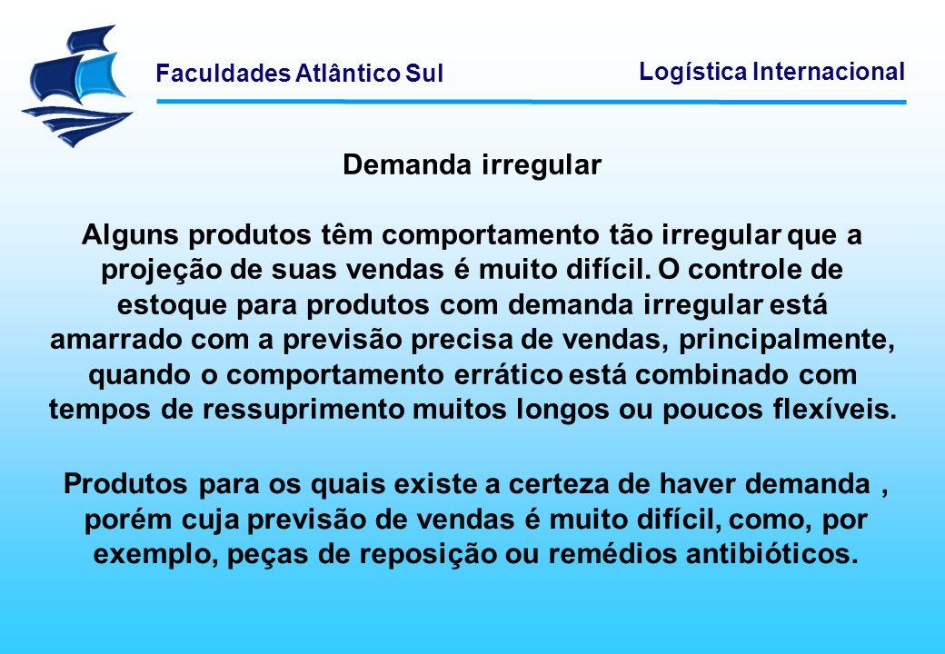 Faculdades Atlântico Sul Logística Internacional Demanda irregular Alguns produtos têm comportamento tão irregular que a projeção de suas vendas é mui