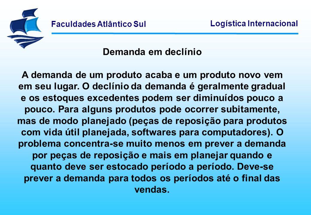 Faculdades Atlântico Sul Logística Internacional Demanda em declínio A demanda de um produto acaba e um produto novo vem em seu lugar. O declínio da d