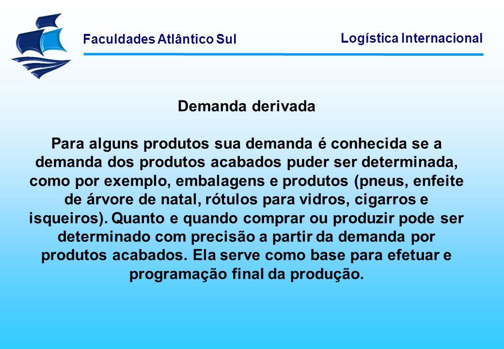 Faculdades Atlântico Sul Logística Internacional Demanda derivada Para alguns produtos sua demanda é conhecida se a demanda dos produtos acabados pude