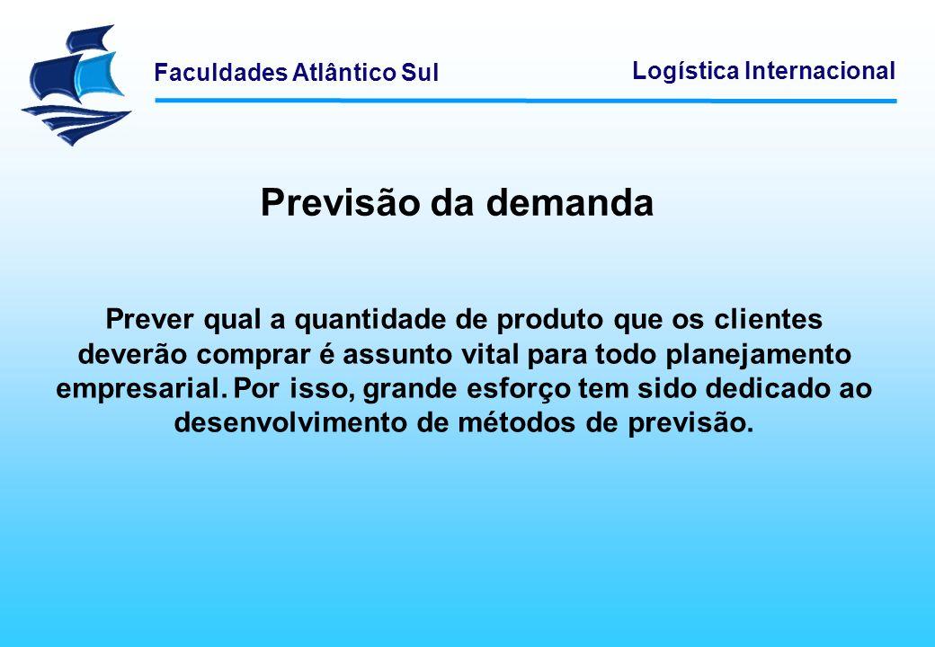 Faculdades Atlântico Sul Logística Internacional Previsão da demanda Prever qual a quantidade de produto que os clientes deverão comprar é assunto vit