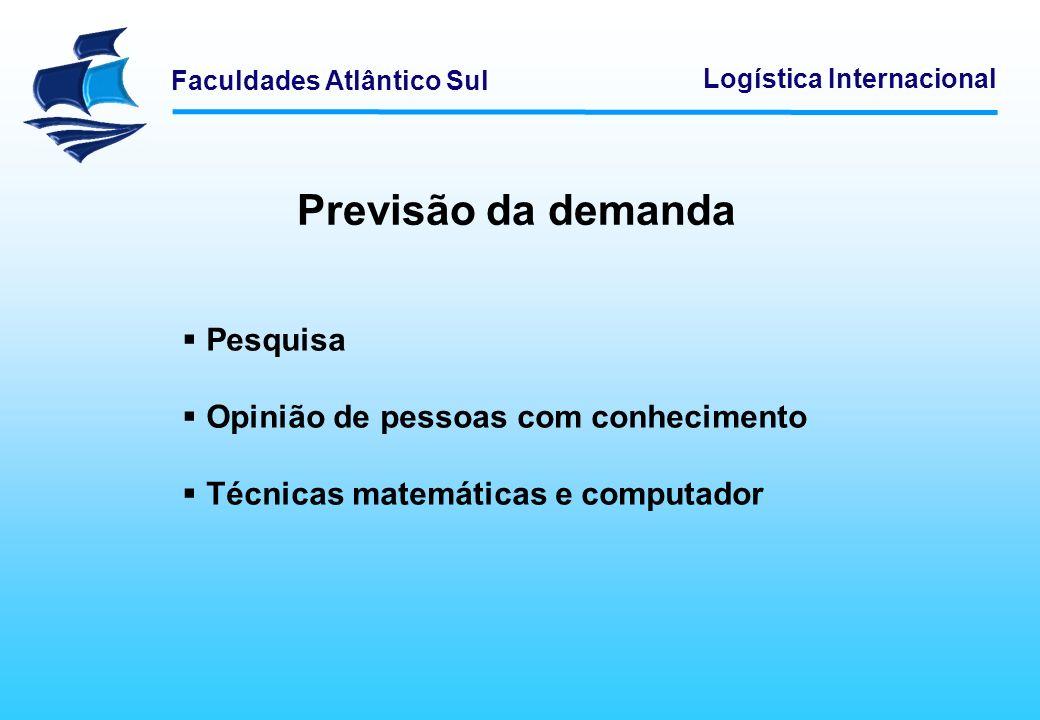 Faculdades Atlântico Sul Logística Internacional Previsão da demanda Pesquisa Opinião de pessoas com conhecimento Técnicas matemáticas e computador