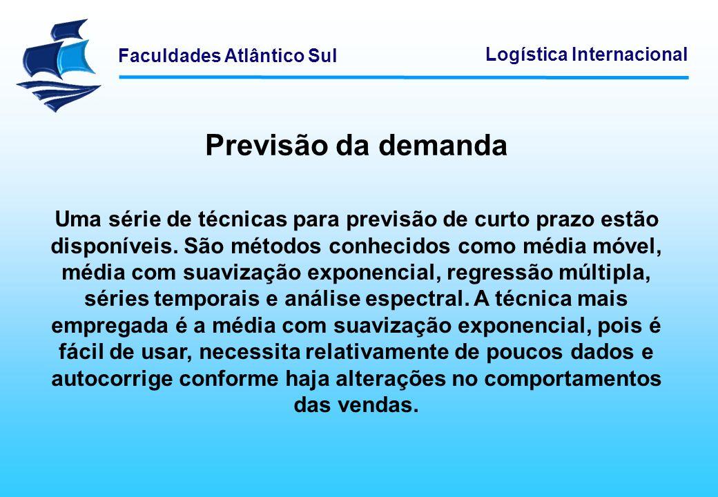 Faculdades Atlântico Sul Logística Internacional Previsão da demanda Uma série de técnicas para previsão de curto prazo estão disponíveis. São métodos