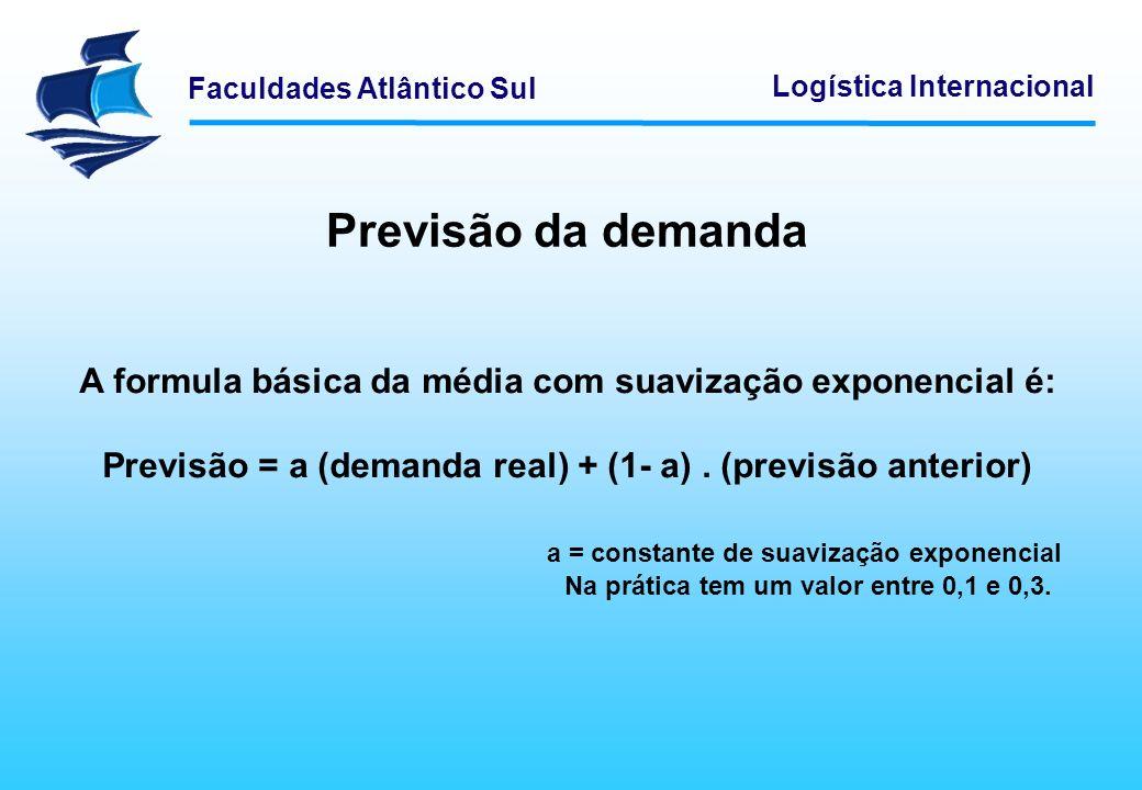 Faculdades Atlântico Sul Logística Internacional Previsão da demanda A formula básica da média com suavização exponencial é: Previsão = a (demanda rea