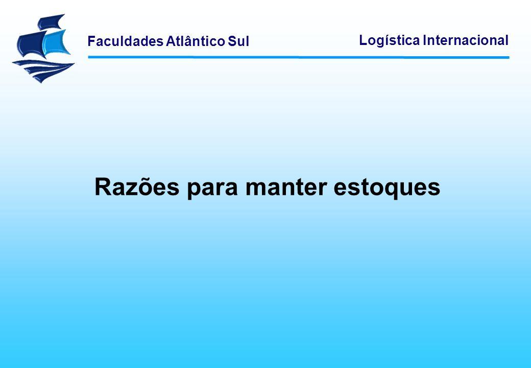 Faculdades Atlântico Sul Logística Internacional Razões para manter estoques