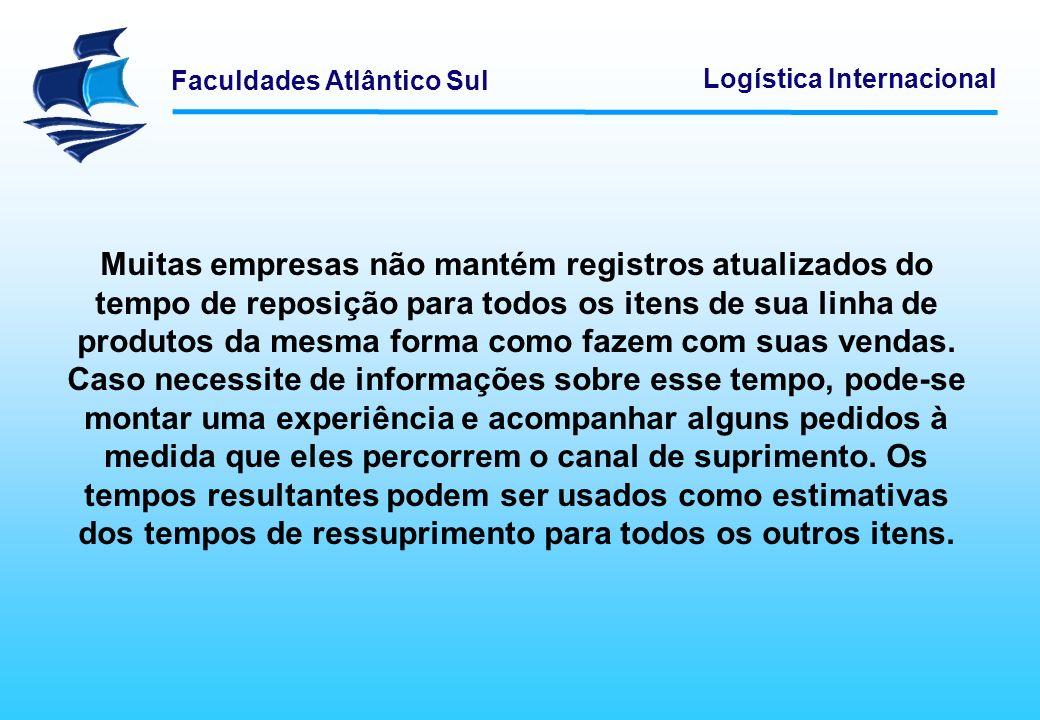 Faculdades Atlântico Sul Logística Internacional Muitas empresas não mantém registros atualizados do tempo de reposição para todos os itens de sua lin