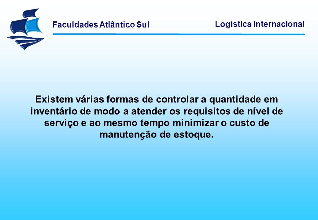 Faculdades Atlântico Sul Logística Internacional Existem várias formas de controlar a quantidade em inventário de modo a atender os requisitos de níve