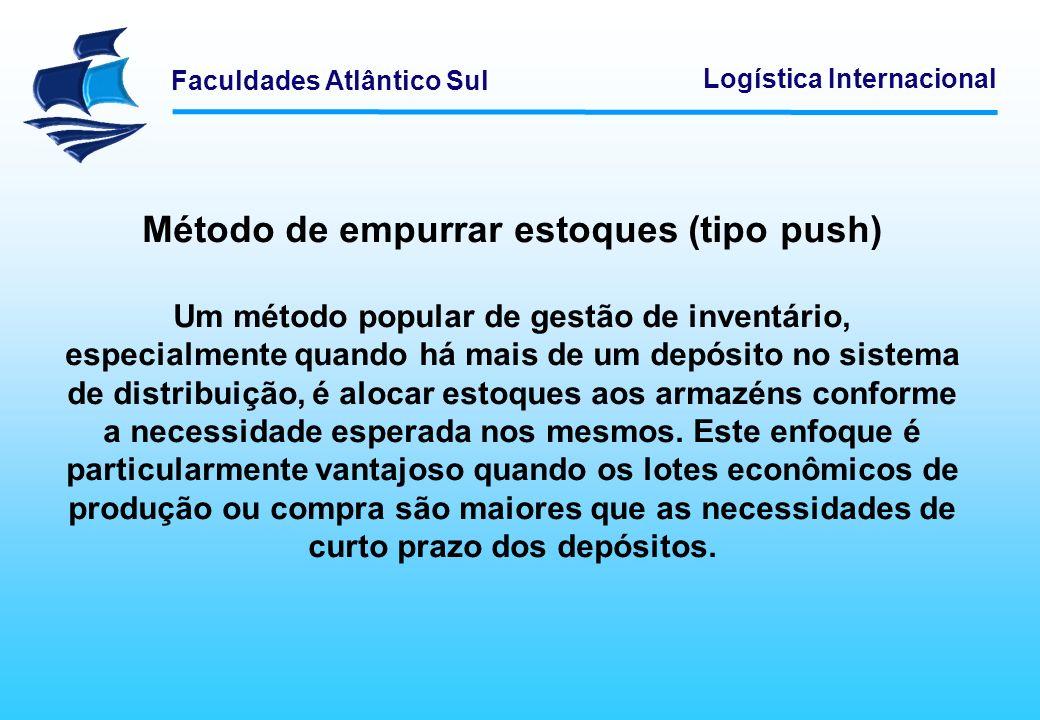 Faculdades Atlântico Sul Logística Internacional Método de empurrar estoques (tipo push) Um método popular de gestão de inventário, especialmente quan
