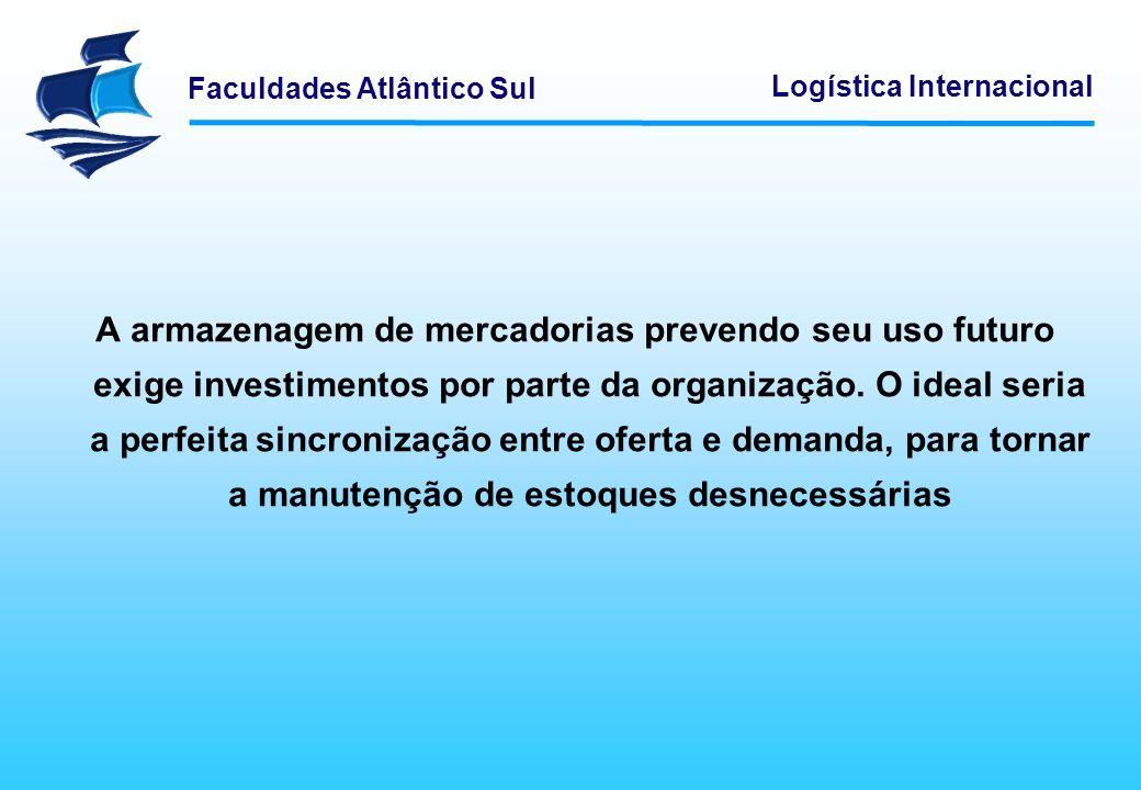 Faculdades Atlântico Sul Logística Internacional A armazenagem de mercadorias prevendo seu uso futuro exige investimentos por parte da organização. O