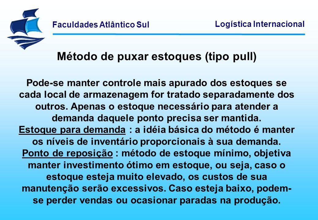 Faculdades Atlântico Sul Logística Internacional Método de puxar estoques (tipo pull) Pode-se manter controle mais apurado dos estoques se cada local