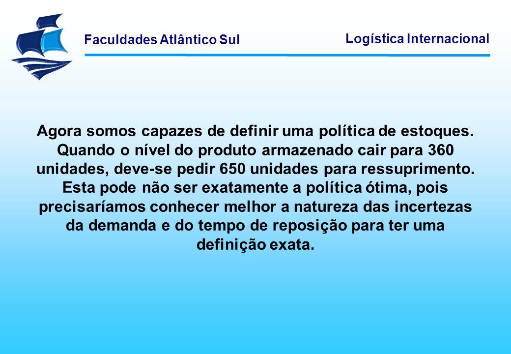 Faculdades Atlântico Sul Logística Internacional Agora somos capazes de definir uma política de estoques. Quando o nível do produto armazenado cair pa