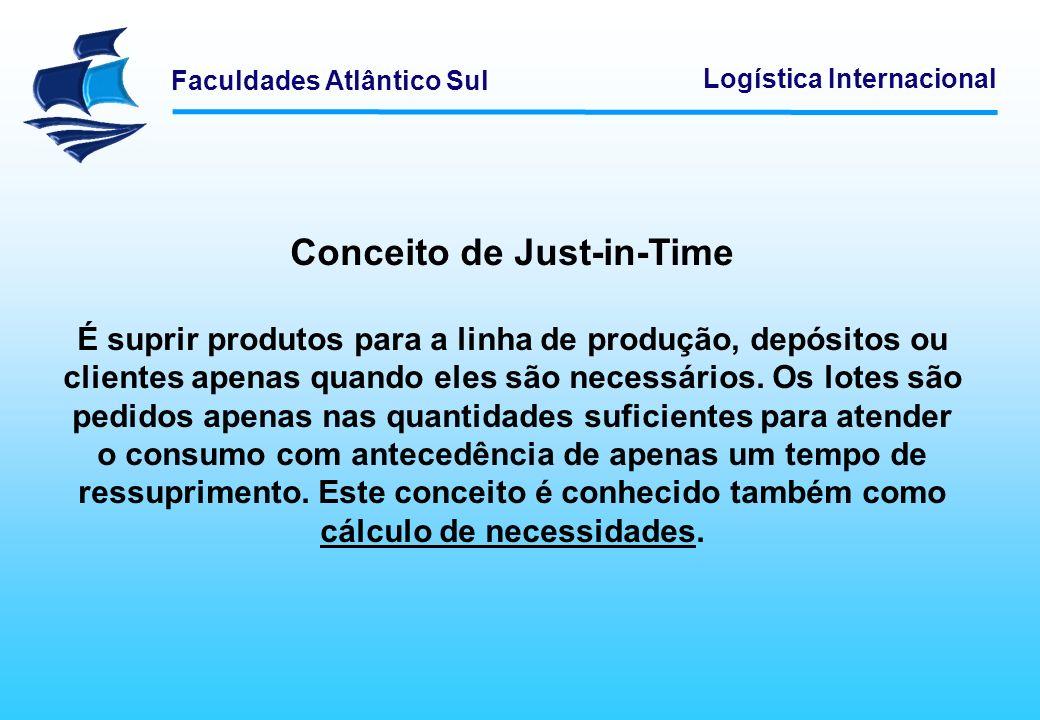 Faculdades Atlântico Sul Logística Internacional Conceito de Just-in-Time É suprir produtos para a linha de produção, depósitos ou clientes apenas qua
