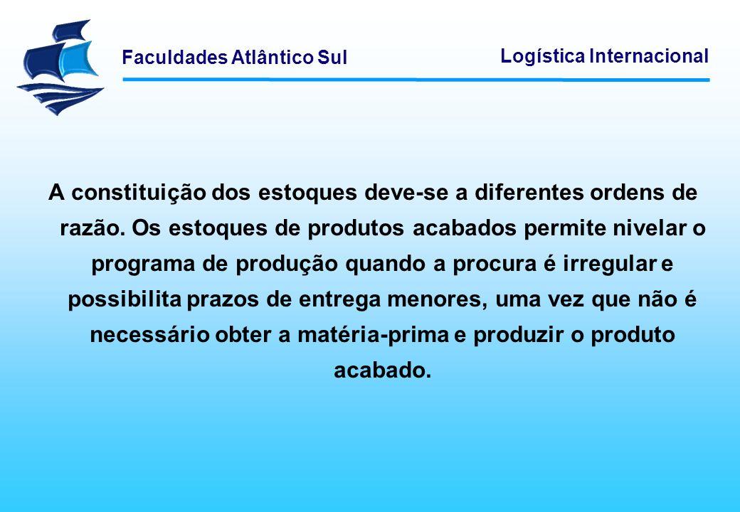 Faculdades Atlântico Sul Logística Internacional A constituição dos estoques deve-se a diferentes ordens de razão. Os estoques de produtos acabados pe