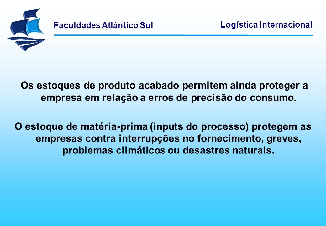 Faculdades Atlântico Sul Logística Internacional Os estoques de produto acabado permitem ainda proteger a empresa em relação a erros de precisão do co
