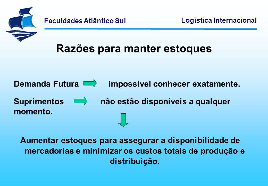 Faculdades Atlântico Sul Logística Internacional Razões para manter estoques Aumentar estoques para assegurar a disponibilidade de mercadorias e minim