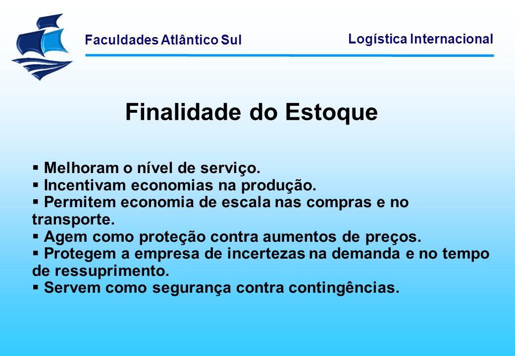 Faculdades Atlântico Sul Logística Internacional Finalidade do Estoque Melhoram o nível de serviço. Incentivam economias na produção. Permitem economi