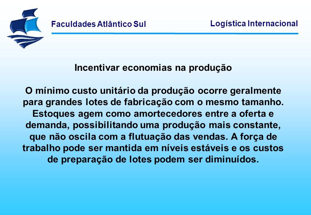 Faculdades Atlântico Sul Logística Internacional Incentivar economias na produção O mínimo custo unitário da produção ocorre geralmente para grandes l