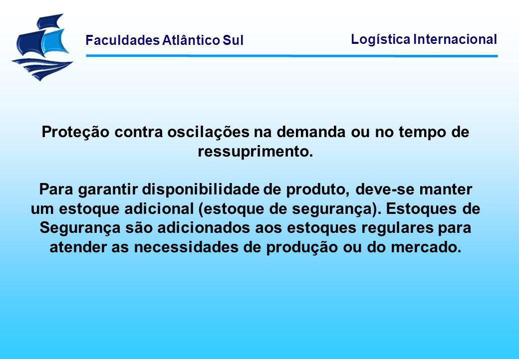Faculdades Atlântico Sul Logística Internacional Proteção contra oscilações na demanda ou no tempo de ressuprimento. Para garantir disponibilidade de