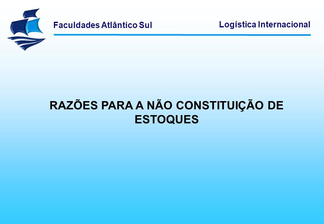 Faculdades Atlântico Sul Logística Internacional RAZÕES PARA A NÃO CONSTITUIÇÃO DE ESTOQUES