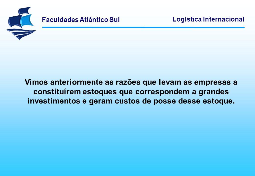 Faculdades Atlântico Sul Logística Internacional Vimos anteriormente as razões que levam as empresas a constituírem estoques que correspondem a grande