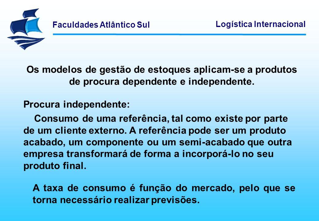 Faculdades Atlântico Sul Logística Internacional Os modelos de gestão de estoques aplicam-se a produtos de procura dependente e independente. Procura