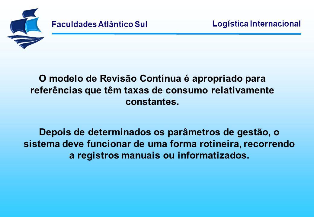 Faculdades Atlântico Sul Logística Internacional O modelo de Revisão Contínua é apropriado para referências que têm taxas de consumo relativamente con