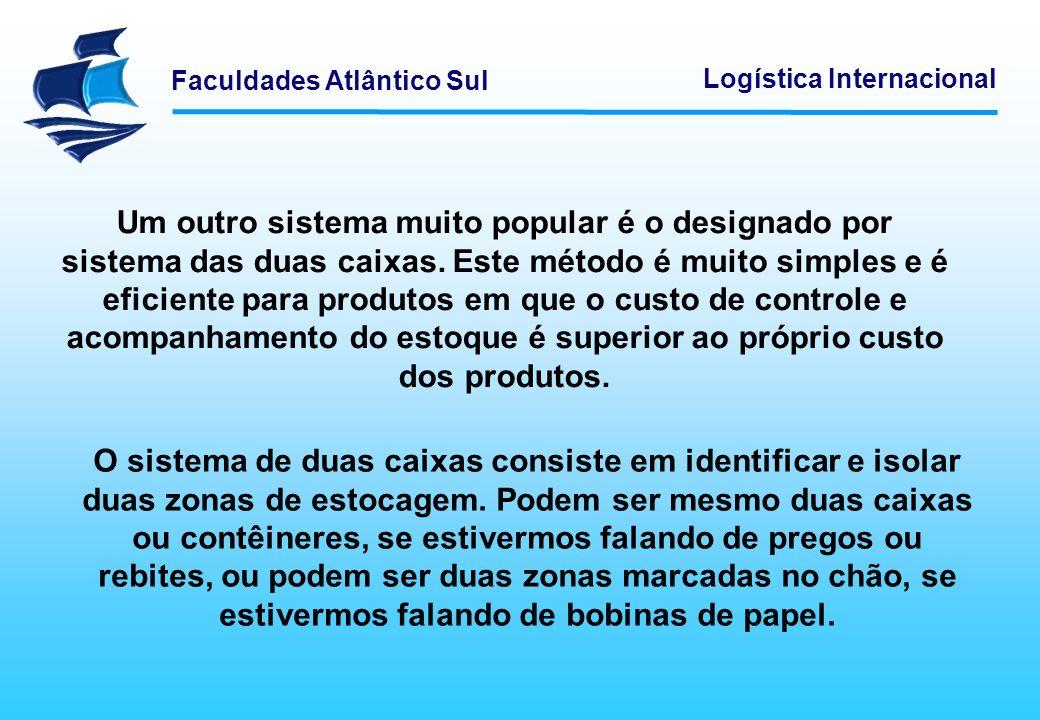 Faculdades Atlântico Sul Logística Internacional Um outro sistema muito popular é o designado por sistema das duas caixas. Este método é muito simples