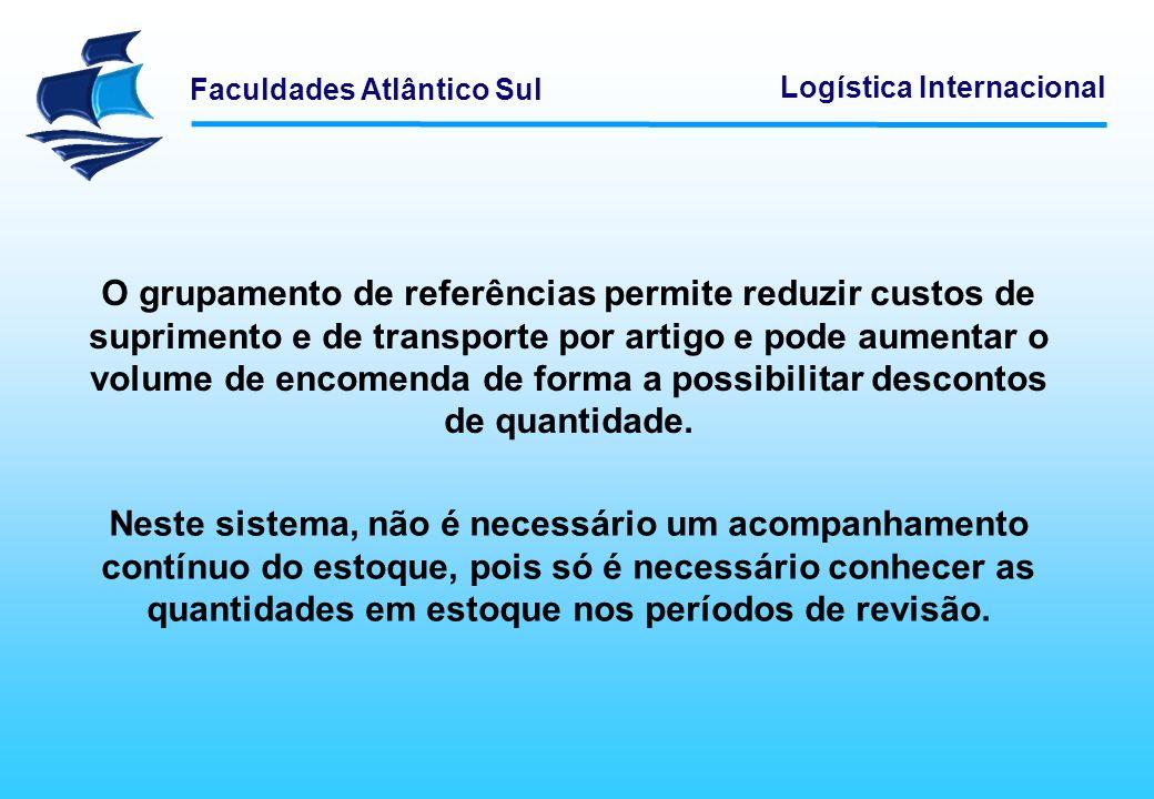 Faculdades Atlântico Sul Logística Internacional O grupamento de referências permite reduzir custos de suprimento e de transporte por artigo e pode au