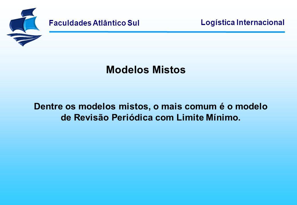 Faculdades Atlântico Sul Logística Internacional Modelos Mistos Dentre os modelos mistos, o mais comum é o modelo de Revisão Periódica com Limite Míni