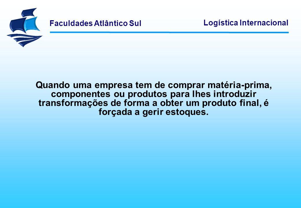 Faculdades Atlântico Sul Logística Internacional Quando uma empresa tem de comprar matéria-prima, componentes ou produtos para lhes introduzir transfo