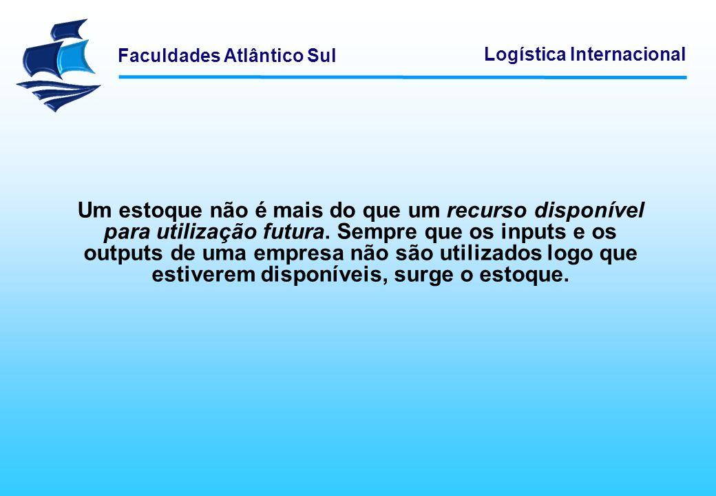 Faculdades Atlântico Sul Logística Internacional Um estoque não é mais do que um recurso disponível para utilização futura. Sempre que os inputs e os