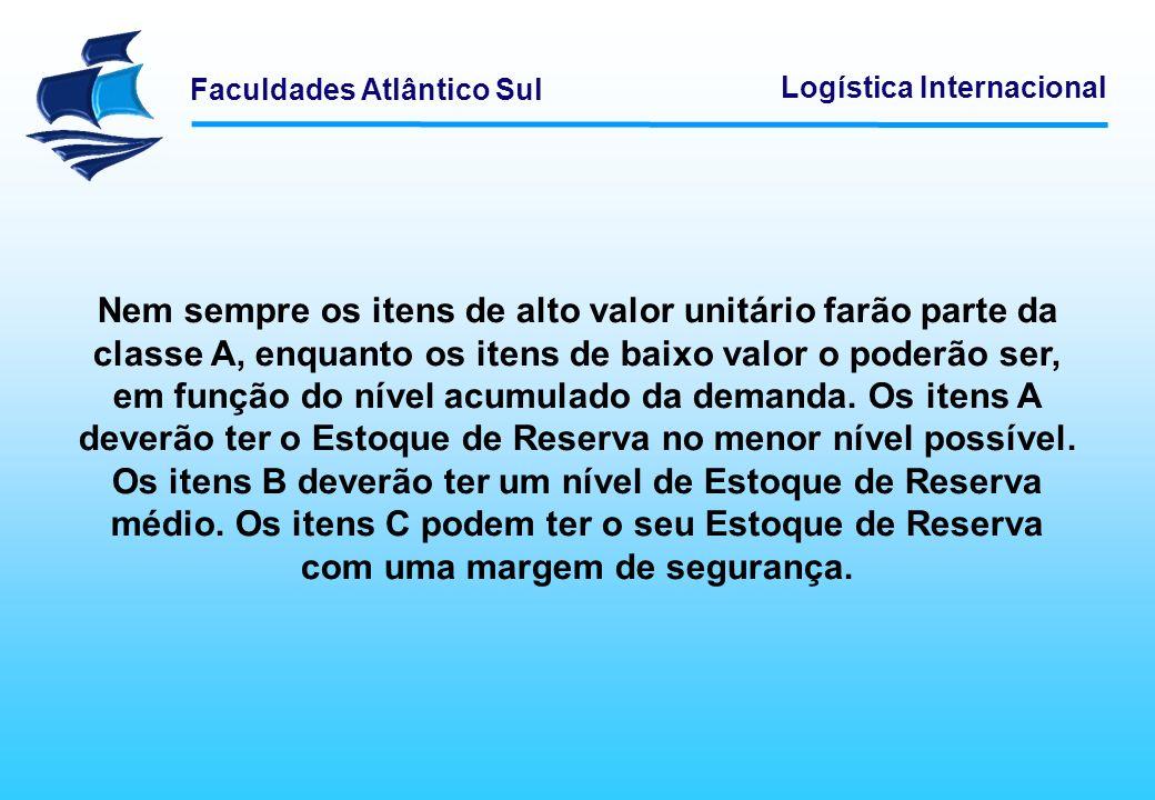 Faculdades Atlântico Sul Logística Internacional Nem sempre os itens de alto valor unitário farão parte da classe A, enquanto os itens de baixo valor