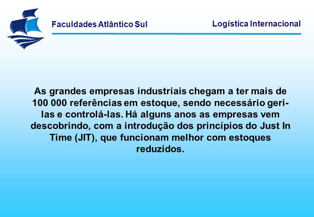 Faculdades Atlântico Sul Logística Internacional As grandes empresas industriais chegam a ter mais de 100 000 referências em estoque, sendo necessário