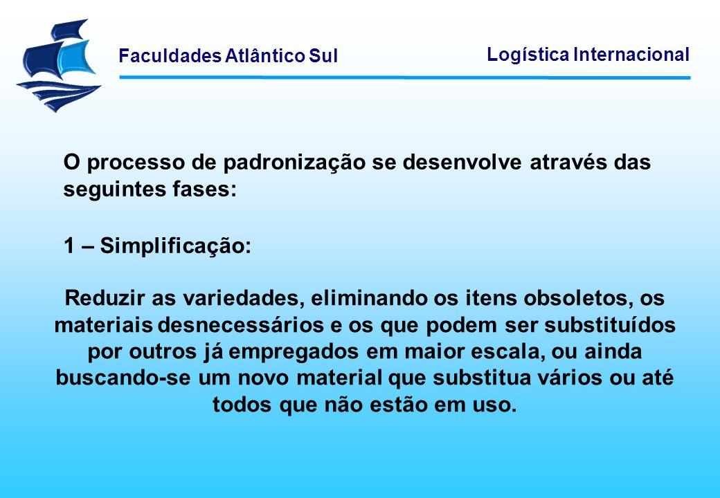 Faculdades Atlântico Sul Logística Internacional O processo de padronização se desenvolve através das seguintes fases: 1 – Simplificação: Reduzir as v