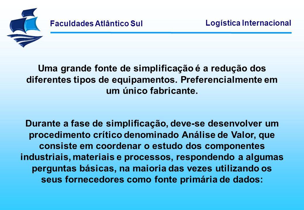 Faculdades Atlântico Sul Logística Internacional Uma grande fonte de simplificação é a redução dos diferentes tipos de equipamentos. Preferencialmente
