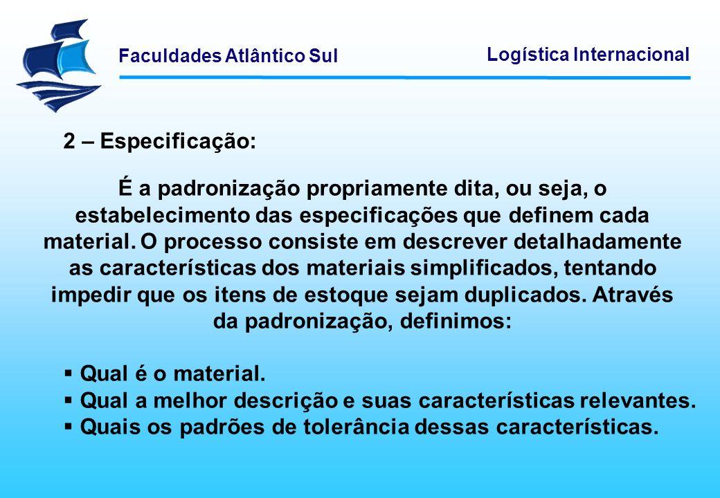 Faculdades Atlântico Sul Logística Internacional 2 – Especificação: É a padronização propriamente dita, ou seja, o estabelecimento das especificações