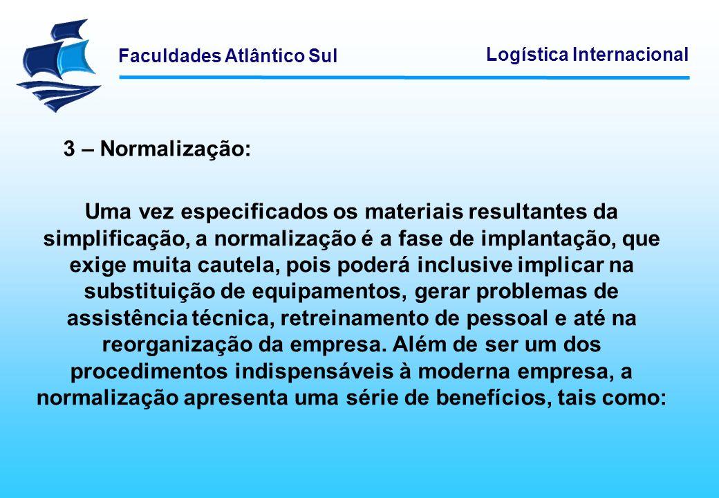 Faculdades Atlântico Sul Logística Internacional 3 – Normalização: Uma vez especificados os materiais resultantes da simplificação, a normalização é a