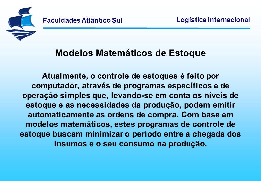 Faculdades Atlântico Sul Logística Internacional Modelos Matemáticos de Estoque Atualmente, o controle de estoques é feito por computador, através de