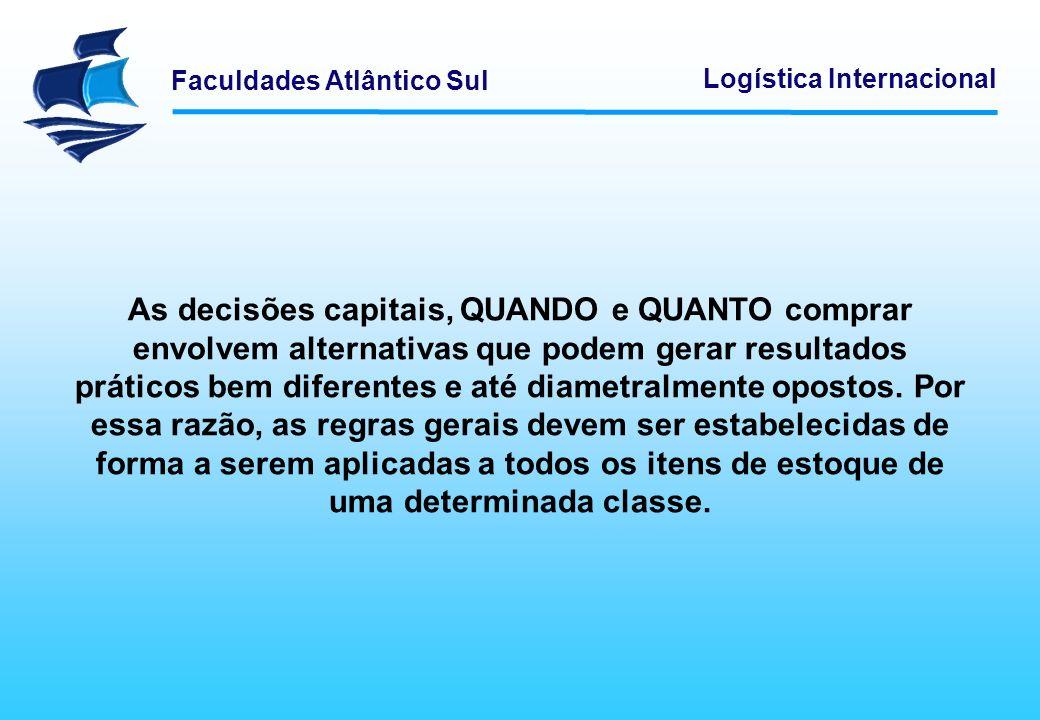 Faculdades Atlântico Sul Logística Internacional As decisões capitais, QUANDO e QUANTO comprar envolvem alternativas que podem gerar resultados prátic