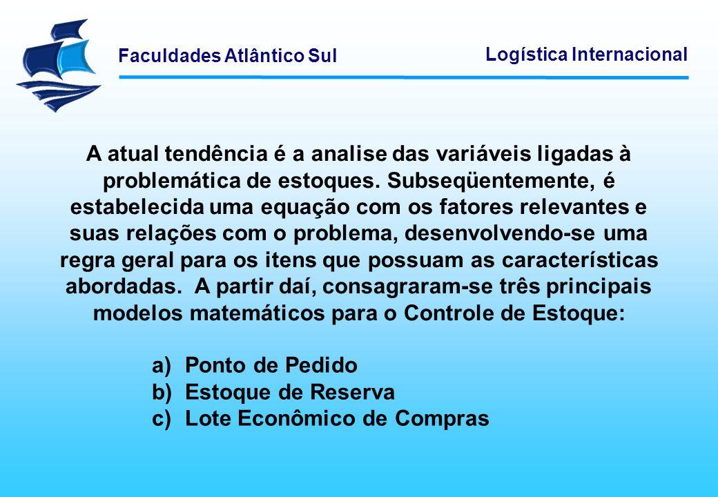 Faculdades Atlântico Sul Logística Internacional A atual tendência é a analise das variáveis ligadas à problemática de estoques. Subseqüentemente, é e