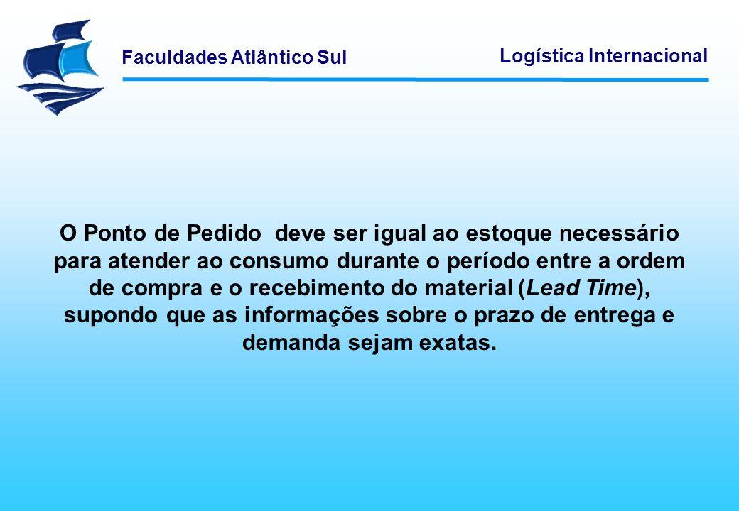 Faculdades Atlântico Sul Logística Internacional O Ponto de Pedido deve ser igual ao estoque necessário para atender ao consumo durante o período entr