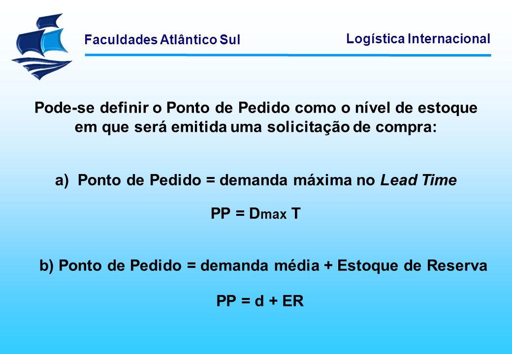 Faculdades Atlântico Sul Logística Internacional Pode-se definir o Ponto de Pedido como o nível de estoque em que será emitida uma solicitação de comp