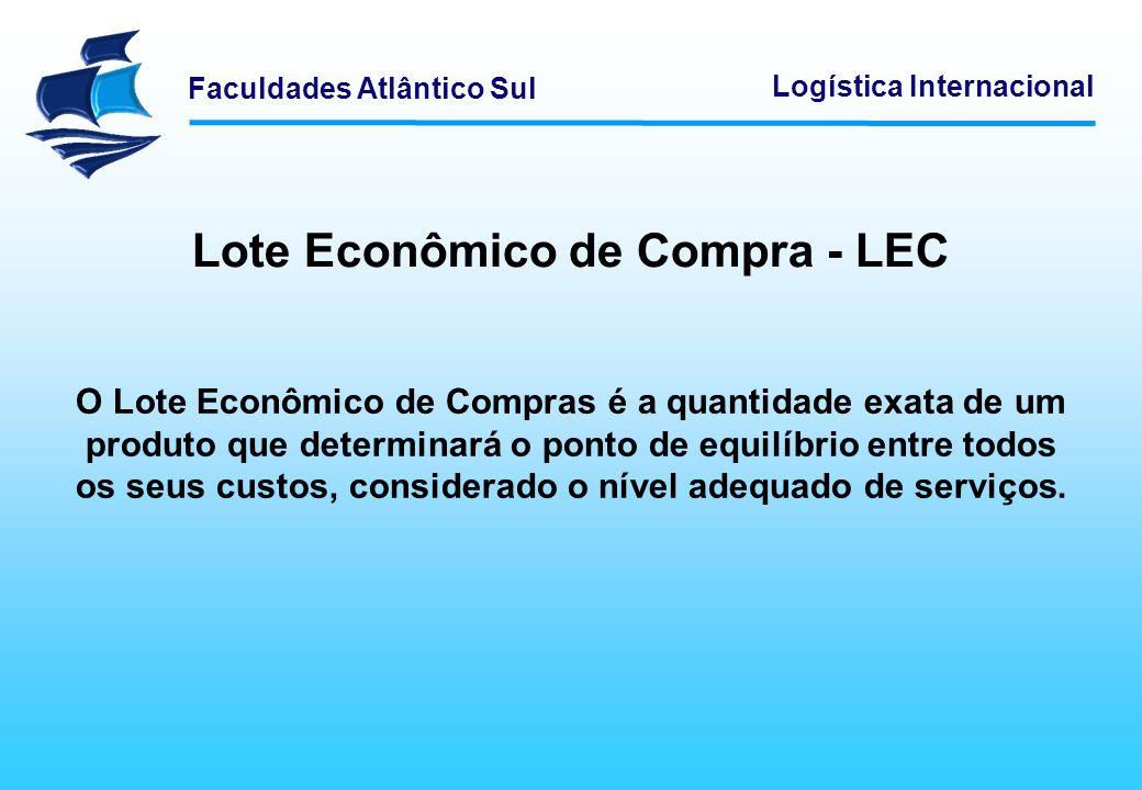 Faculdades Atlântico Sul Logística Internacional Lote Econômico de Compra - LEC O Lote Econômico de Compras é a quantidade exata de um produto que det